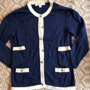 Coach Navy/Cream Cotton/Silk Cardigan XS